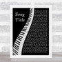 Any Song Custom Piano Personalised Lyrics Print
