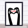 Black Lives Matters Text Within Heart Shaped Fingers Black & Red Wall Art Print