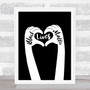 Black Lives Matters Text Within Heart Shaped Fingers Black Wall Art Print