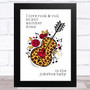 I Love Rock & Roll Leopard Print & Heart Guitar Song Lyric Wall Art Print