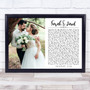 Landscape Rectangle Full Side Wedding Photo White Any Song Lyric Wall Art Print