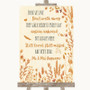 Autumn Leaves In Loving Memory Personalised Wedding Sign