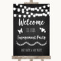 Chalk Style Black & White Lights Welcome To Our Engagement Party Wedding Sign