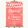 Coral Watercolour Lights Cheers To Love Personalised Wedding Sign