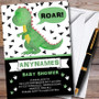 Black & Green Roar Dinosaur Personalised Baby Shower Invitations