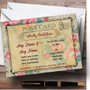 Floral Vintage Paris Shabby Chic Postcard Personalised Anniversary Party Invitations