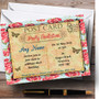 Pink Floral Vintage Paris Shabby Chic Postcard Personalised Birthday Party Invitations