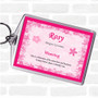 Rosy Name Meaning Bag Tag Keychain Keyring  Pink