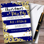 Glitter Border Blue Stripes Personalised Christmas Party Invitations