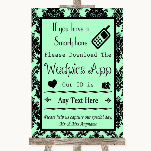 Mint Green Damask Wedpics App Photos Personalised Wedding Sign