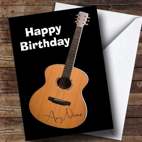 Signed Guitar Funny Personalised Birthday Card