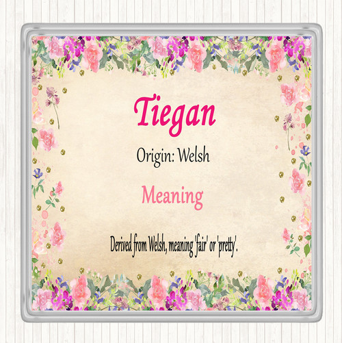 Tiegan Name Meaning Drinks Mat Coaster Floral