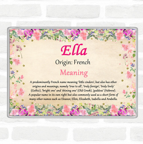 Ella Name Meaning Jumbo Fridge Magnet Floral The Card Zoo