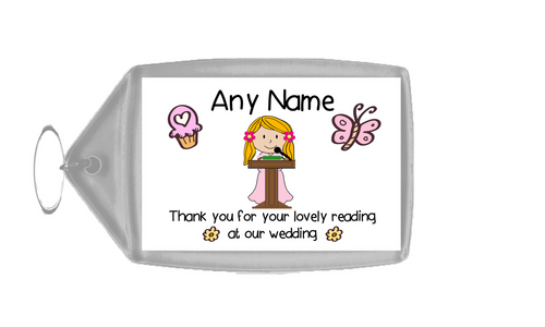 Thank You For Doing A Reading At Our Wedding Girl Thank You Customised Card
