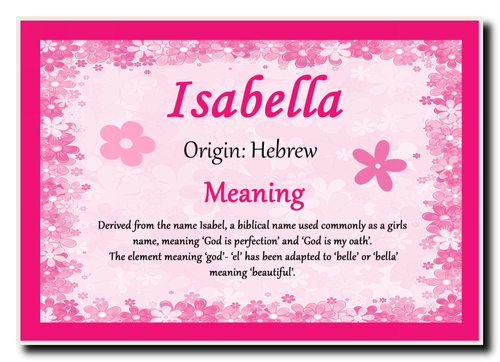 Isabella Personalised Name Meaning Jumbo Magnet - The Card Zoo
