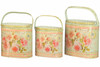 French country planters vintage painted metal decorative containers & flower pots by Dolce Mela (set of 3)