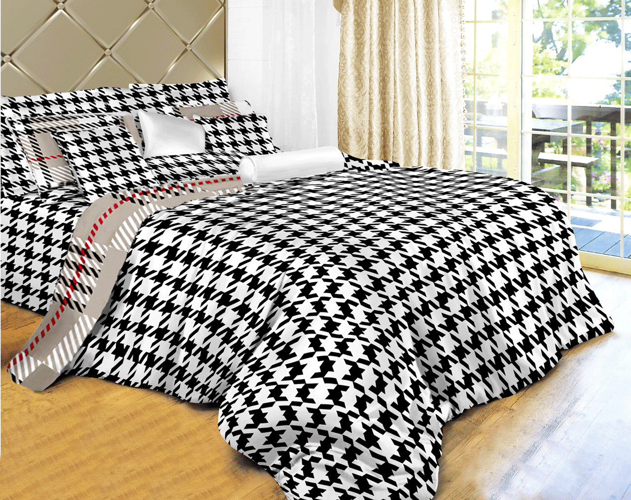 DM498K Dolce Mela Houndstooth Check King Size