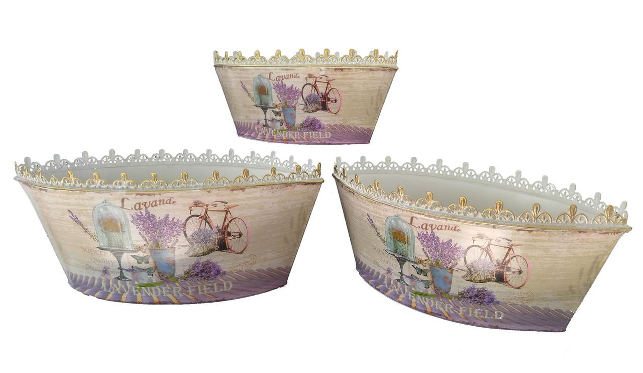 French country planters vintage painted metal decorative vases or flower pots by Dolce Mela (set of 3)