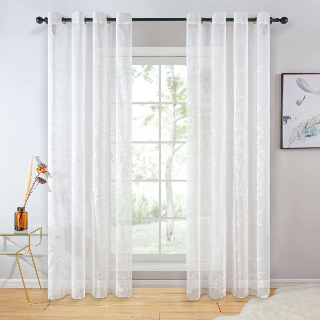 Sheer Curtain Panel Grommet-Top Window Treatments DMC722 Dolce Mela 8171460151464