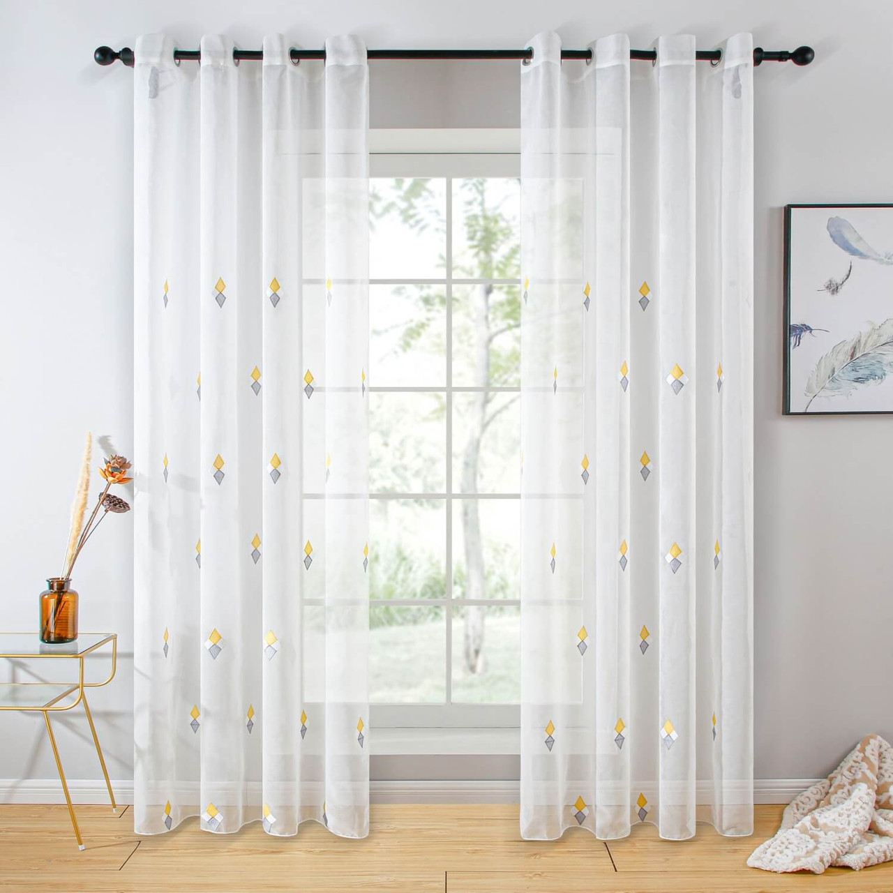 Sheer Curtain Panel Grommet-Top Window Treatments DMC726 Dolce Mela 8171460151846