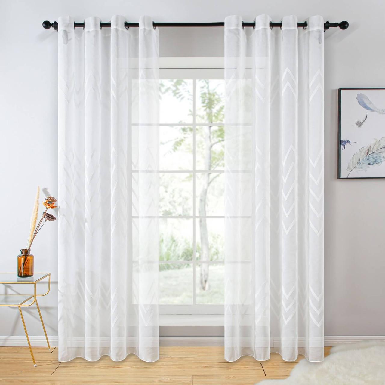 Sheer Curtain Panel Grommet-Top Window Treatments DMC727 Dolce Mela 8171460151914