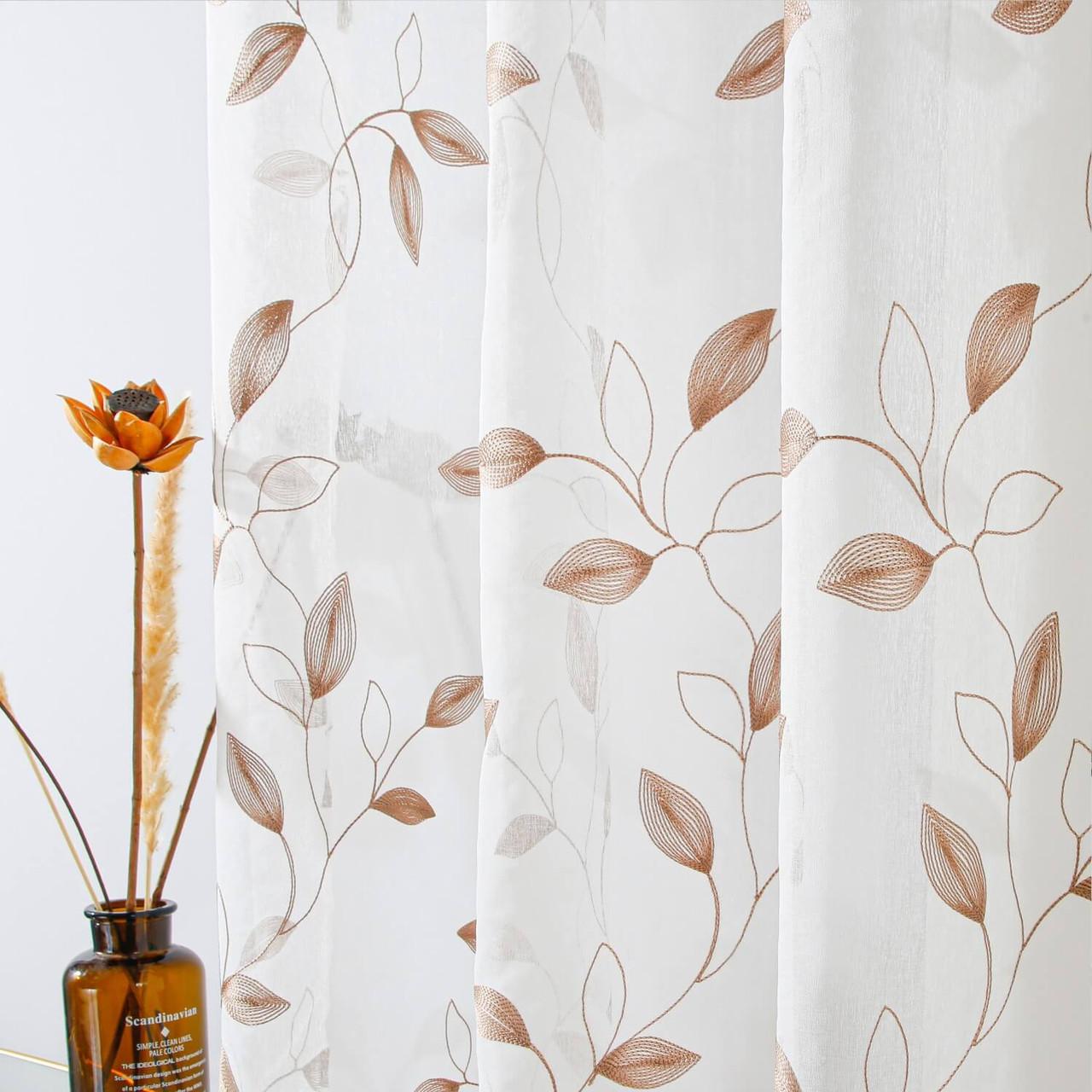Golden Leaf Sheer Curtain Panels