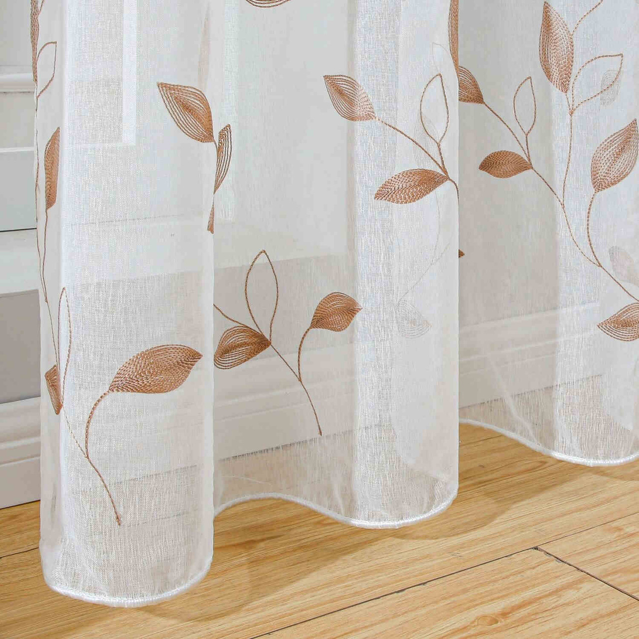 Floral Embroidery Sheer Curtain Panel DMC729 Dolce Mela 8171460152140