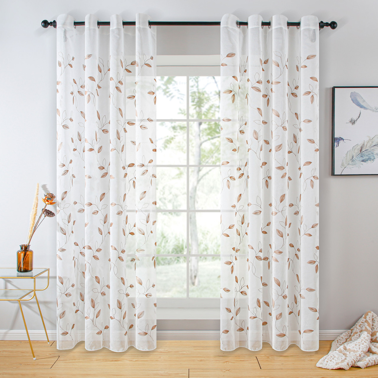 Sheer Curtain Panel White Window Treatments - Dolce Mela - Valencia - DMC729