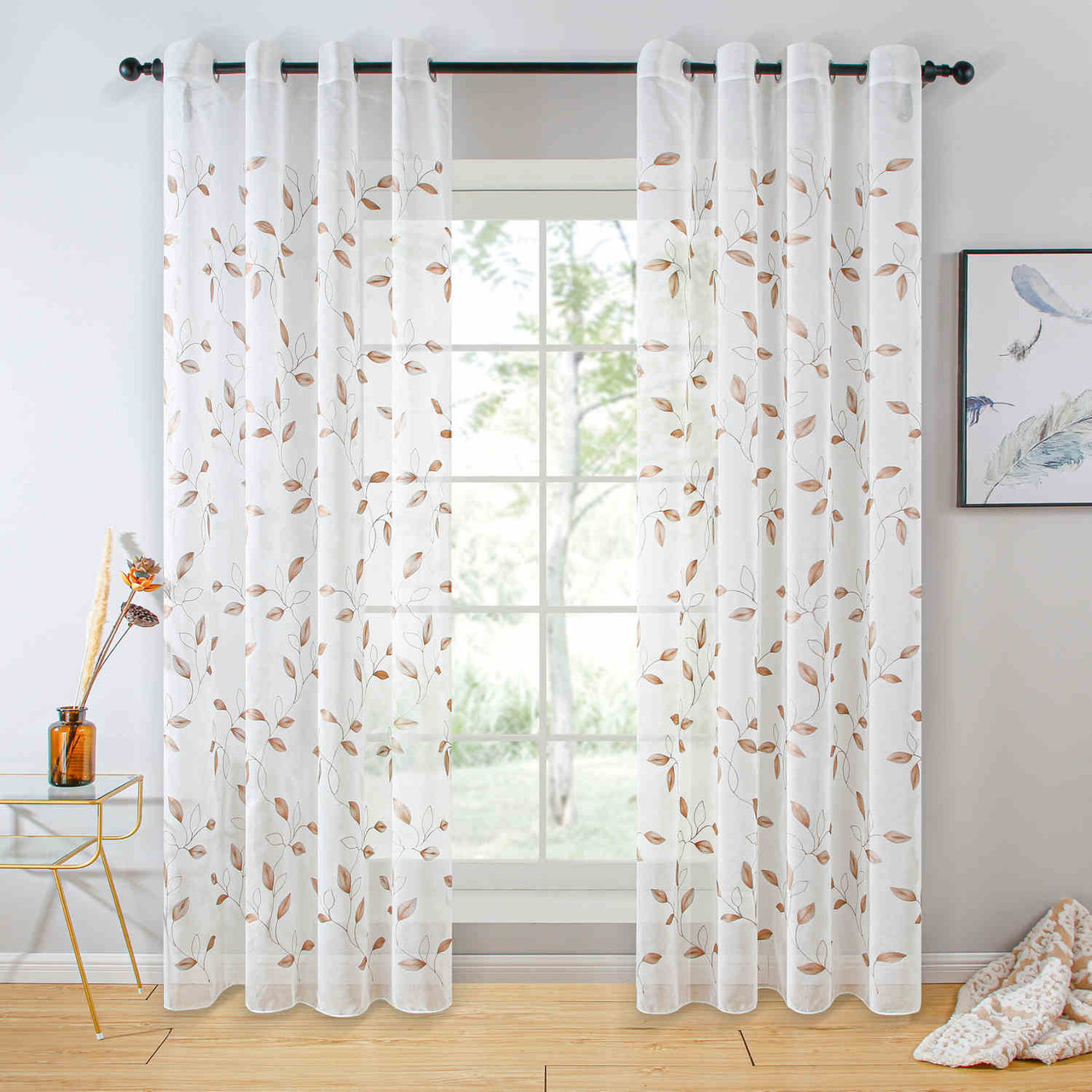 Sheer Curtain Panel Grommet-Top Window Treatments DMC729 Dolce Mela 8171460152140