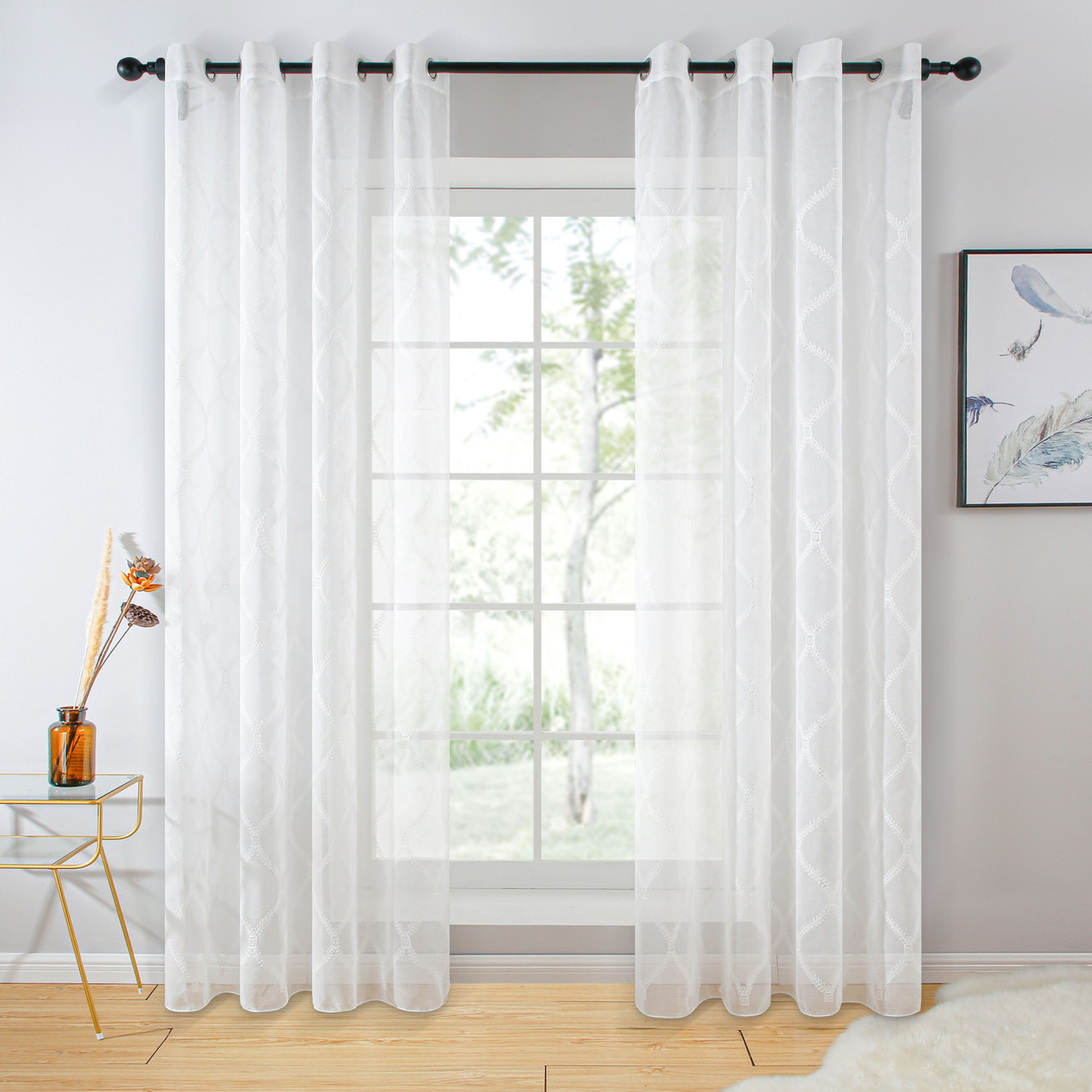 Sheer Curtain Panel Grommet-Top Window Treatments DMC732 Dolce Mela 8171460152454