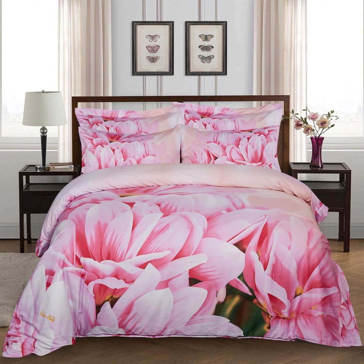 Floral King Duvet Cover Set Fitted Bedding Dolce Mela Dm701k