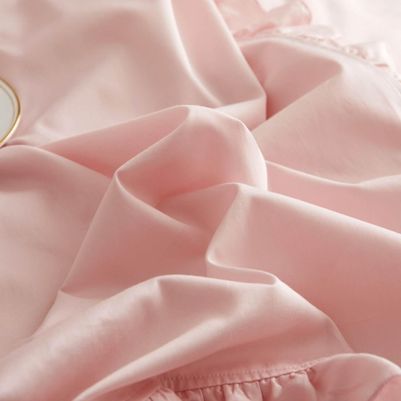 DM808K Ruffle Edge Bedding - Bertha: 6 Pieces Luxury King Size Duvet Cover Set 100% Cotton