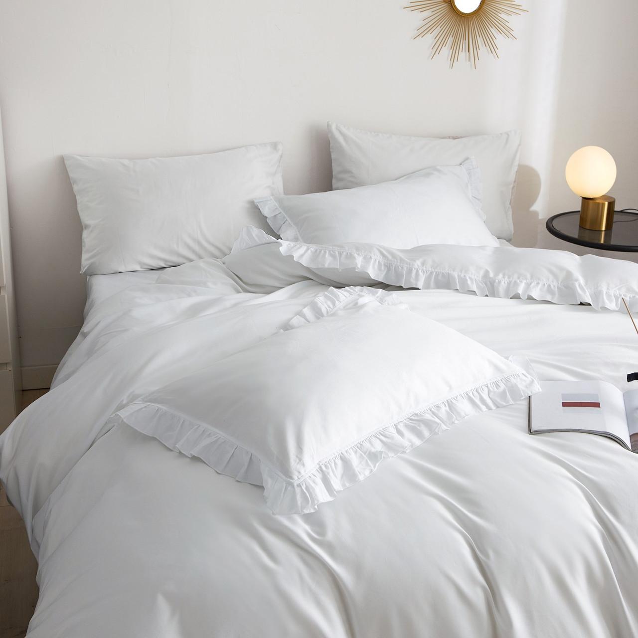 DM807K Ruffle Edge Bedding -- Snow White: 6 Pieces Luxury King Size Duvet Cover Set 100% Cotton