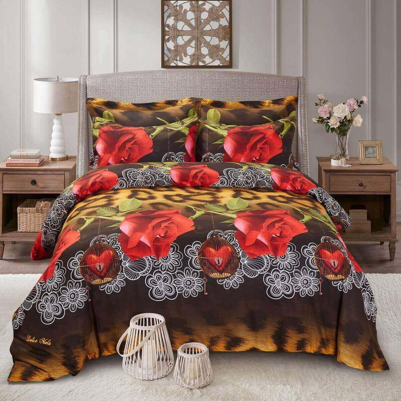 Floral King Duvet Cover Set Fitted Bedding Dolce Mela Dm709k