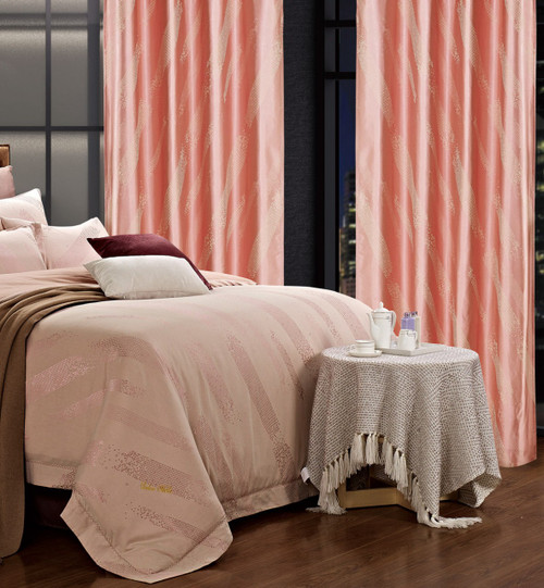 DMC460 Dolce Mela Drapery Panels with matching bedding DM470Q & DM470K