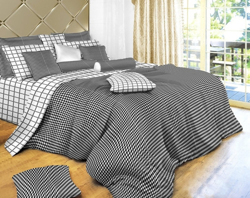 Dorm Room Bedding, Black and White Check 4 Piece 100% Cotton Duvet Cover Set, Dolce Mela DM497T