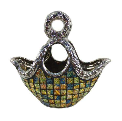 "11.5/"" x 5.5/"" x 7.5/"" DMCV007 Decorative Ceramic /& Glass Purse Floral Vases H"