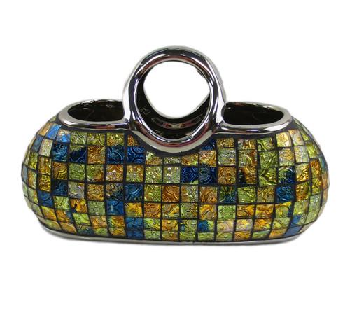 Decorative ceramic & glass purse vases, Rhea by Dolce Mela DMCV007