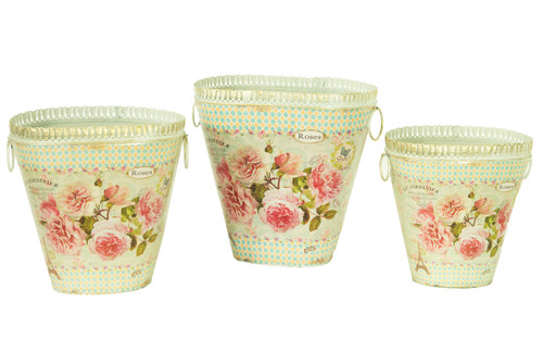 French country planters vintage painted metal decorative vases & flower pots by Dolce Mela (set of 3)