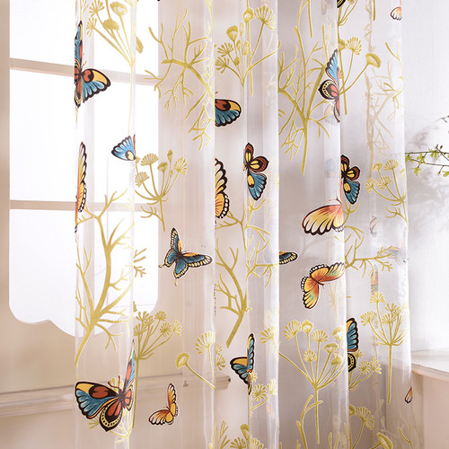 Fortune Butterflies  DMC484 sheer curtains