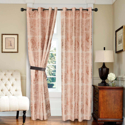 Curtain Panel Semi-Blackout Drapes, DMC717 Dolce Mela Vienna Window Treatments