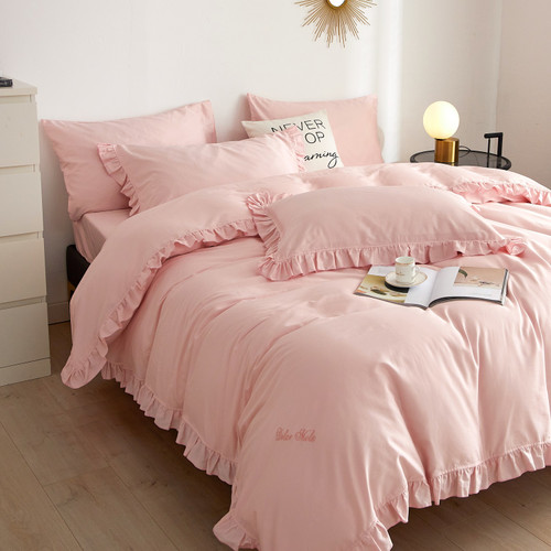 DM808K Ruffle Edge Bedding - Bertha: 6 Pieces Luxury King Size Duvet Cover Set 100% Cotton