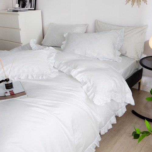 DM807K Ruffle Edge Bedding -- Snow White: 6 Pieces Luxury King Size Duvet Cover Set 100% Cotton