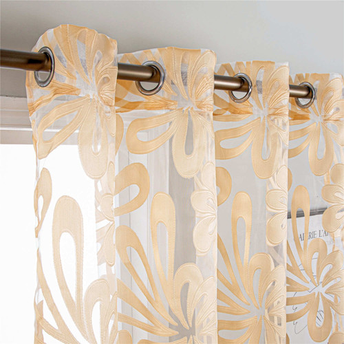 Sheer Curtains Dolce Mela Brussels  Gold accent DMC495