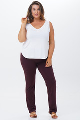 Lenzing Modal® - Narrow leg pull-on pants with elastic waist band. These not-quite-leggings are– a must-have wardrobe basic, and pair well with many of our dresses and tops. S-XL inseam Lengths: 76-76 cms / 30.4-30.4 inches.