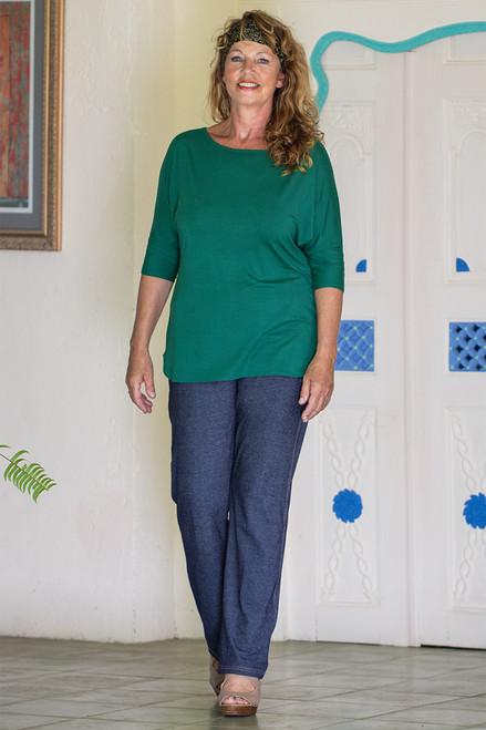 Simple raglan top in Green color
