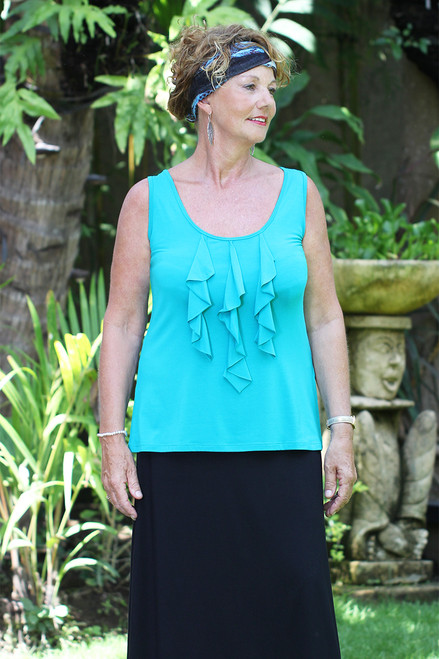 Cascading ruffles top-front view