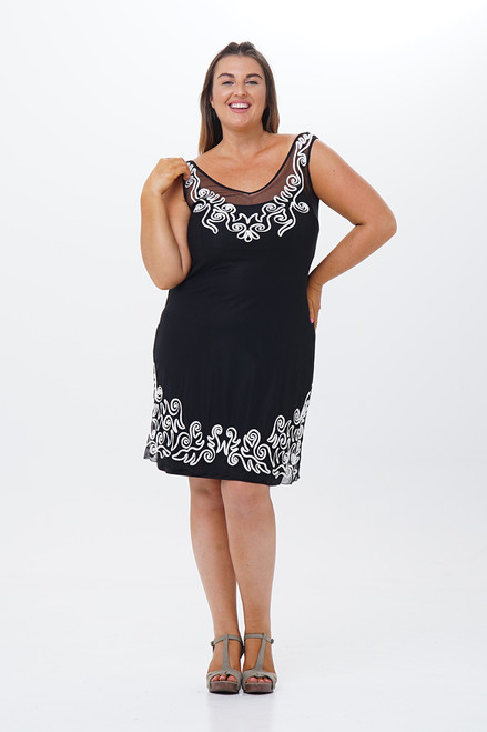 Cornelli Embroidered Low-back dress