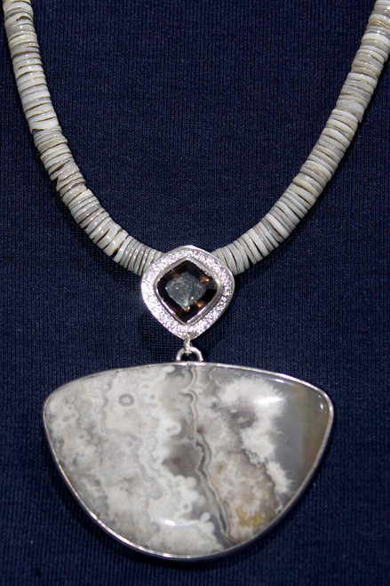 Picture Agate Silver Necklace