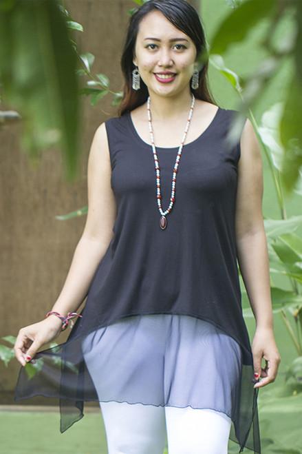 Radha Net Hem Sleeveless Tunic